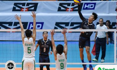 Philippine Sports News - Tiebreaker Times NU claims solo first, overwhelms La Salle DLSU News NU UAAP Volleyball  UAAP Season 80 Men's Volleyball UAAP Season 80 Ricky Marcos Raymark Woo NU Men's Volleyball Norman Miguel Kim Malabunga Kim Dayandante DLSU Men's Volleyball Dante Alinsunurin Bryan Bagunas Arjay Onia