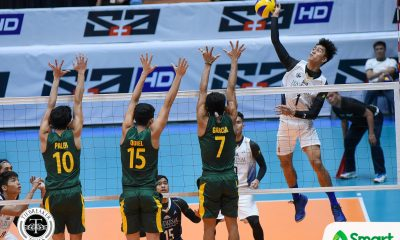 Philippine Sports News - Tiebreaker Times Bulldogs outlast Tamaraws for seventh straight win FEU News NU UAAP Volleyball  UAAP Season 80 Men's Volleyball UAAP Season 80 Rey Diaz Redijohn Paler NU Men's Volleyball Kim Dayandante Jude Garcia Jann Sumagui FEU Men's Volleyball Fauzi Ismail Dante Alinsunurin Bryan Bagunas