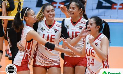 Tiebreaker Times UE goes on first winning streak since 2012, stifles UST News UAAP UE UST Volleyball  UST Women's Volleyball UE Women's Volleyball UAAP Season 80 Women's Volleyball UAAP Season 80 Shaya Adorador Rod Roque Me-Ann Mendrez Laizah Bendong Kungfu Reyes Kath Arado Dimdim Pacres Cherry Rondina