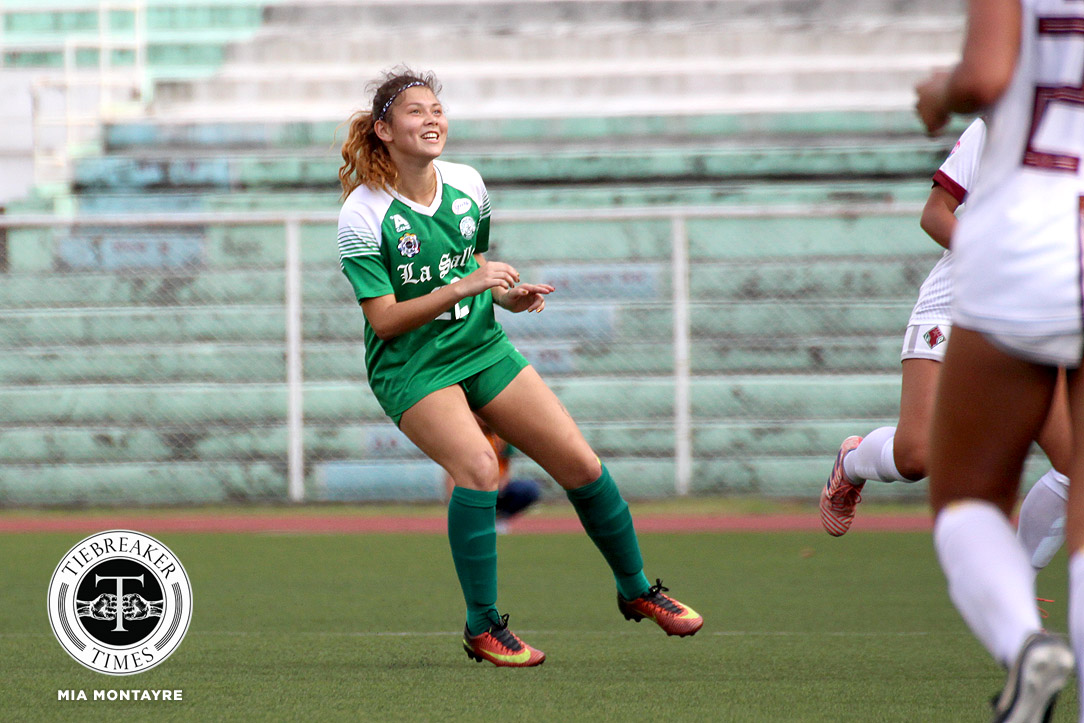 Tiebreaker Times Shannon Arthur, La Salle edge UP, near third straight Finals appearance DLSU Football News UAAP UP  Vanessa Estrada UP Women's Football UAAP Season 80 WOmen's Football UAAP Season 80 Shannon Arthur Natasha Lacson Hans-Peter Smit Franco Gambico DLSU Women's Football