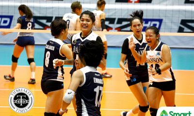 Philippine Sports News - Tiebreaker Times Lady Falcons send Lady Bulldogs spiraling to third straight loss AdU News NU UAAP Volleyball  UAAP Season 80 Women's Volleyball UAAP Season 80 Thang Ponce NU Women's Volleyball Joy Dacoron Jema Galanza Jaja Santiago Fhen Emnas Babes Castillo Air Padda Adamson Women's Volleyball