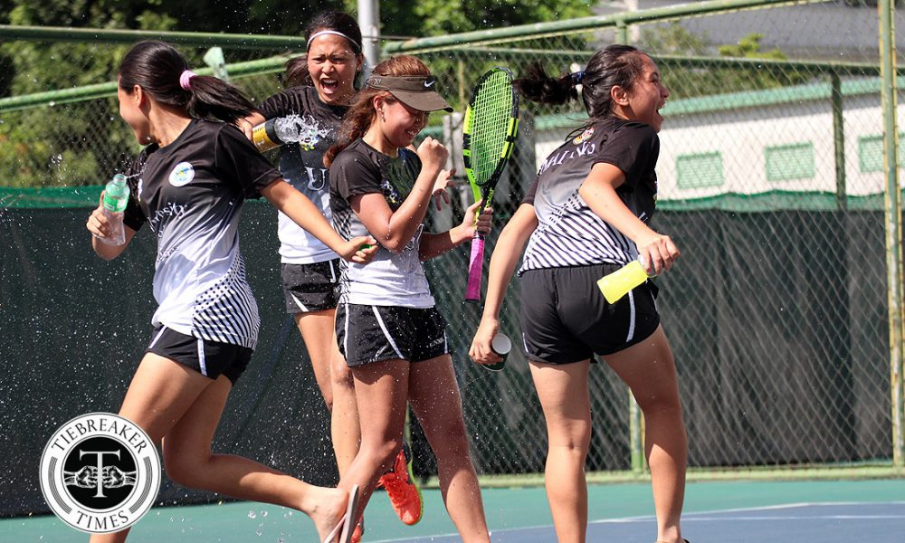 UAAP 80 Women's Tennis – Finals – UST def ADMU – UST celebrate