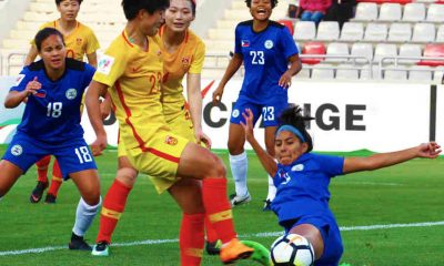 Tiebreaker Times Li Yang, China overwhelm Philippines Football News Philippine Malditas  Rabah Benlarbi Kearra Bastes-Jones China (Football) 2018 AFC Women's Asian Cup