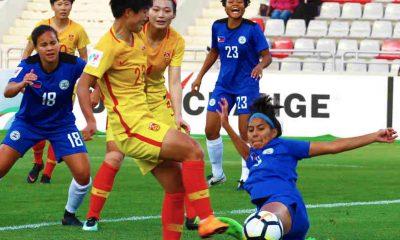 Philippine Sports News - Tiebreaker Times Li Yang, China overwhelm Philippines Football News Philippine Malditas  Rabah Benlarbi Kearra Bastes-Jones China (Football) 2018 AFC Women's Asian Cup