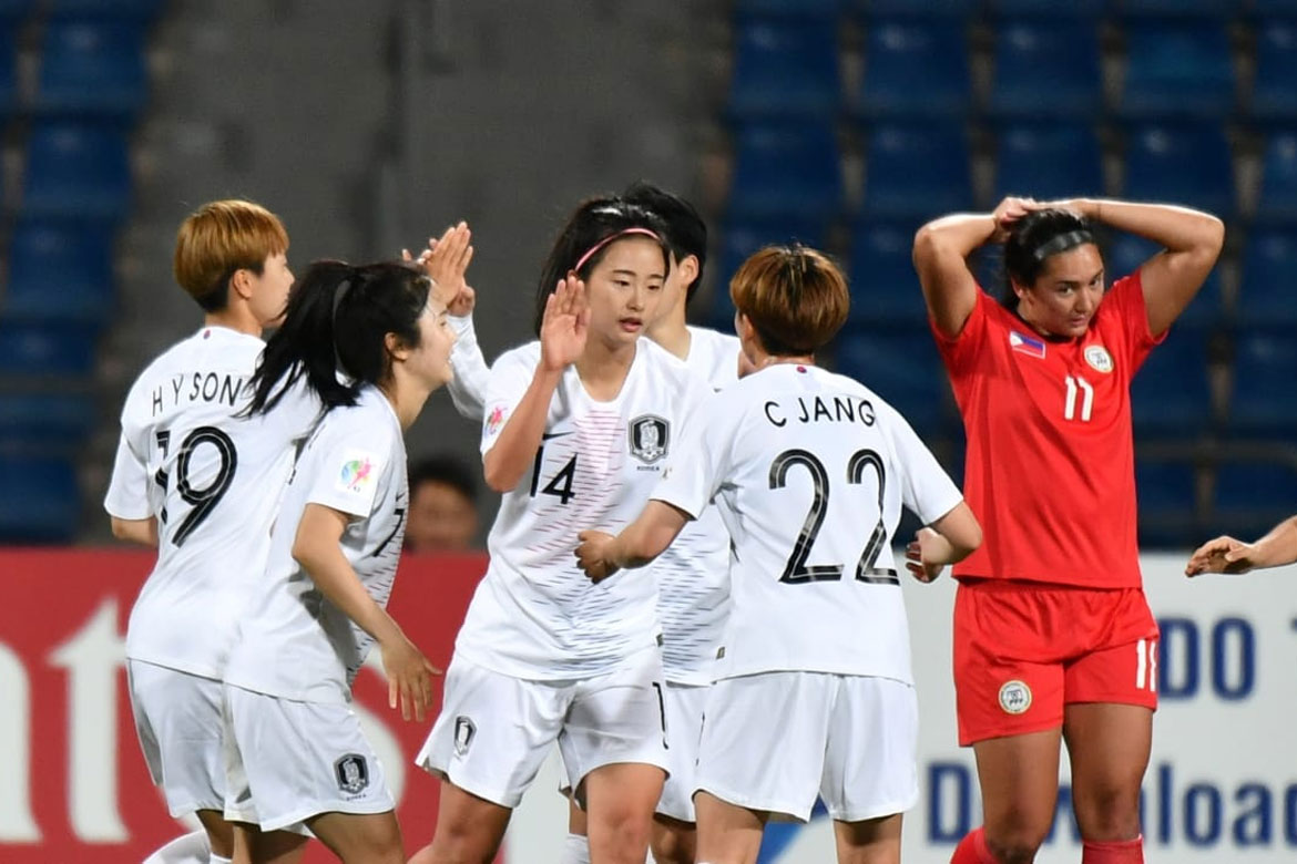 Tiebreaker Times South Korea hammers Philippines for final World Cup spot Football News Philippine Malditas  Rabah Banlarbi Kearra Bastes-Jones 2018 AFC Women's Asian Cup