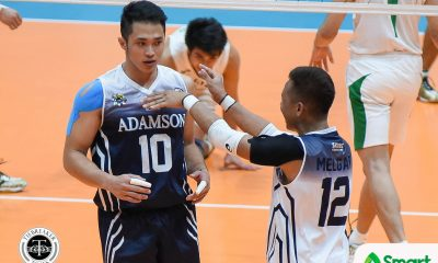 Tiebreaker Times Soaring Falcons claim solo fourth, outlast Green Spikers AdU DLSU News UAAP Volleyball  UAAP Season 80 Men's Volleyball UAAP Season 80 Rence Melgar Raymark Woo Pao Pablico Norman Miguel Lenard Amburgo George Labang Domingo Custodio DLSU Men's Volleyball Custodio Arjay Onia Adamson Men's Volleyball