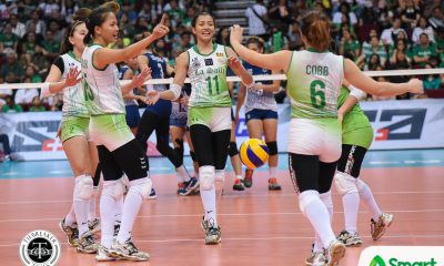 Philippine Sports News - Tiebreaker Times Lady Spikers seniors dedicate final games to Ramil De Jesus DLSU News UAAP Volleyball  UAAP Season 80 Women's Volleyball UAAP Season 80 Majoy Baron Kim Dy DLSU Women's Volleyball Dawn Macandili