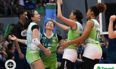 Philippine Sports News - Tiebreaker Times Lady Spikers clinch 10th straight Finals appearance DLSU News NU UAAP Volleyball  UAAP Season 80 Women's Volleyball UAAP Season 80 Ramil De Jesus NU Women's Volleyball Michelle Cobb Majoy Baron Kianna Dy Jasmine Nabor Jaja Santiago DLSU Women's Volleyball Dawn Macandili Babes Castillo