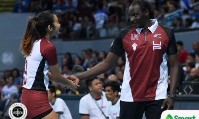 Philippine Sports News - Tiebreaker Times Lady Maroons breathing life into Godfrey Okumu's 'finish strong' call News UAAP UP Volleyball  UP Women's Volleyball UAAP Season 80 Women's Volleyball UAAP Season 80 Tots Carlos Godfrey Okumu