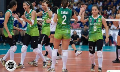 Tiebreaker Times Lady Spikers sweep second round, condemn Lady Eagles to third seed ADMU DLSU News UAAP Volleyball  UAAP Season 80 Women's Volleyball UAAP Season 80 Tai Bundit Ramil De Jesus Michelle Cobb Kianna Dy Kat Tolentino DLSU Women's Volleyball Des Cheng Dawn Macandili Ateneo Women's Volleyball