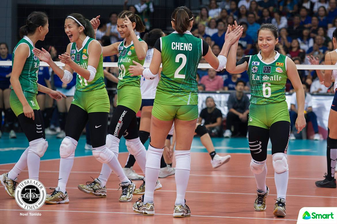 Philippine Sports News - Tiebreaker Times Lady Spikers sweep second round, condemn Lady Eagles to third seed ADMU DLSU News UAAP Volleyball  UAAP Season 80 Women's Volleyball UAAP Season 80 Tai Bundit Ramil De Jesus Michelle Cobb Kianna Dy Kat Tolentino DLSU Women's Volleyball Des Cheng Dawn Macandili Ateneo Women's Volleyball
