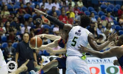 Philippine Sports News - Tiebreaker Times Chris Tiu, Rain or Shine survive Globalport in highly-physical affair Basketball News PBA  Stanley Pringle Sean Anthony Reggie Johnson Raymond Almazan Rain or Shine Elasto Painters Pido Jarencio PBA Season 43 Maverick Ahanmisi Malcolm White Kelly Nabong James Yap Globalport Batang Pier Chris Tiu Caloy Garcia 2018 PBA Commissioners Cup