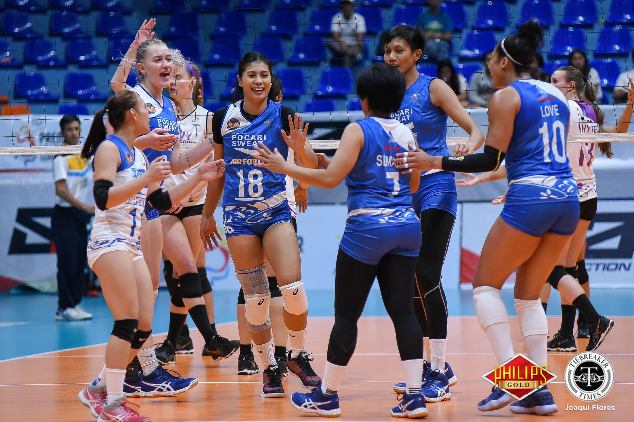 Tiebreaker Times Pocari Sweat-Air Force shakes off Bali Pure-NU, forges three-way tie for second News PVL Volleyball  Wendy Semana Pocari Sweat-Air Force Lady Warriors Myla Pablo Jellie Tempiatura Jasper Jimenez Janisa Johnson Bali Pure-NU Purest Water Defenders Babes Castillo Arielle Love Alexis Matthews 2018 PVL Women's Reinforced Conference 2018 PVL Season