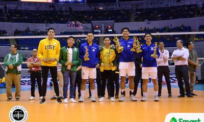 Tiebreaker Times UAAP Season 80 Men's Volleyball Awarding Ceremony: Marck Espejo goes 5-for-5 ADMU DLSU FEU News NU UAAP UST Volleyball  UAAP Season 80 Men's Volleyball UAAP Season 80 Rikko Marmeto NU Men's Volleyball Marck Espejo Jopet Movido Jayvee Sumagaysay Ish Polvorosa FEU Men's Volleyball Ateneo Men's Volleyball Ariel Morado
