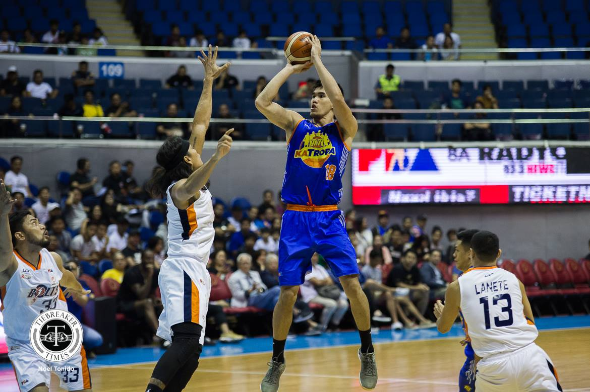 Tiebreaker Times Troy Rosario drops 30 as TNT halts two-game skid at Meralco's expense Basketball News PBA  Troy Rosario TNT Katropa PBA Season 43 Norman Black Nash Racela Meralco Bolts Jericho Cruz Jayson Castro Jared Dillinger Chris Newsome Baser Amer 2018 PBA Commissioners Cup