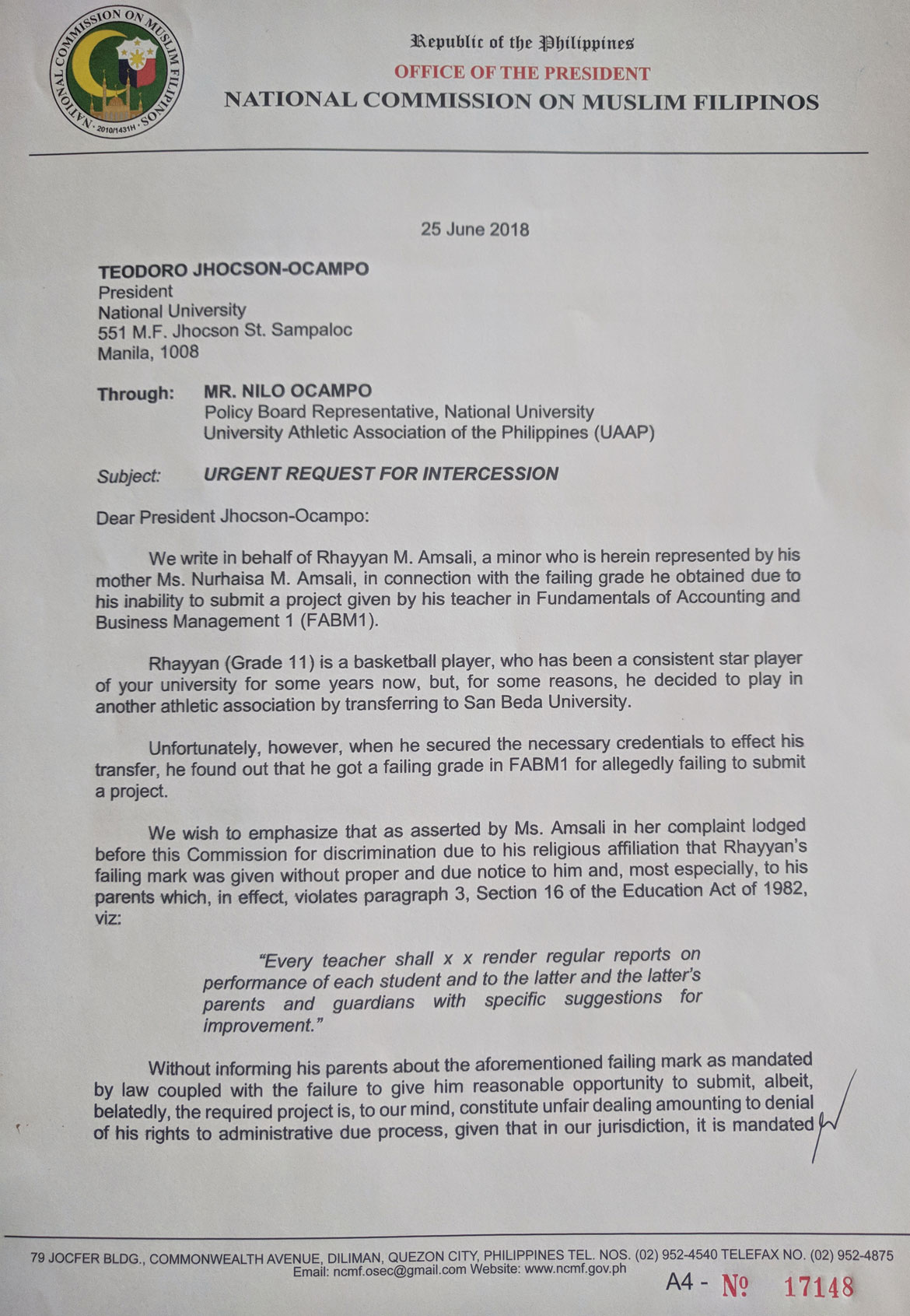 Rhayyan-Amsali-Case-1 Rhayyan Amsali files complaint against NS-NU Basketball News NU SBC  - philippine sports news