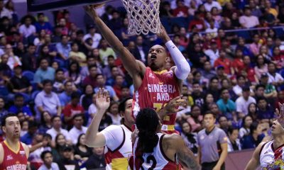 Tiebreaker Times Justin Brownlee, hot-shooting Ginebra obliterate San Miguel for 1-0 lead Basketball News PBA  Tim Cone San Miguel Beermen Renaldo Balkman PBA Season 43 Mark Caguioa Leo Austria Justin Brownlee June Mar Fajardo Joe Devance Greg Slaughter Christian Standhardinger Barangay Ginebra San Miguel 2018 PBA Commissioners Cup