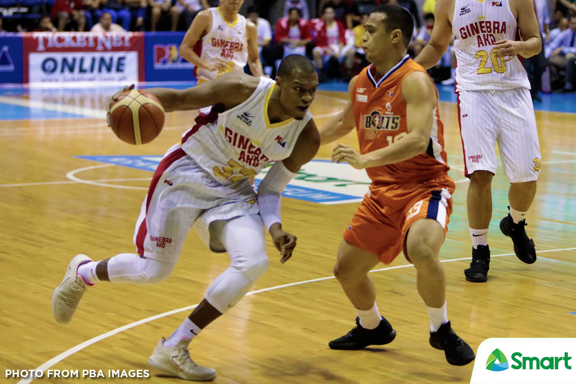 Tiebreaker Times Justin Brownlee drops 36 as Ginebra sweeps way to semis Basketball News PBA  Tim Cone PBA Season 43 Norman Black Meralco Bolts LA Tenorio Justin Brownlee Greg Slaughter Chris Newsome Baser Amer Barangay Ginebra San Miguel Arinze Onuaku 2018 PBA Commissioners Cup
