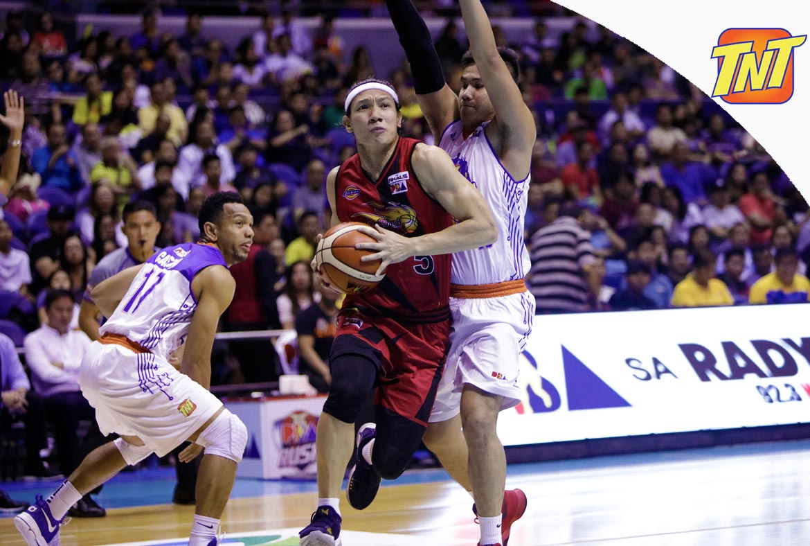 Tiebreaker Times San Miguel wastes Terrence Romeo's 28-point outing, sets up showdown with Alaska Basketball News PBA  TNT Katropa Terrence Romeo San Miguel Beermen Renaldo Balkman PBA Season 43 Nash Racela Marcio Lassiter Leo Austria June Mar Fajardo Joshua Smith Chris Ross Anthony Semerad Alex Cabagnot 2018 PBA Commissioners Cup