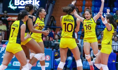 Tiebreaker Times F2 Logistics rallies from behind, snatches Game One from Petron News PSL Volleyball  Shaq delos Santos Ramil De Jesus Petron Blaze Spikers Mika Reyes Majoy Baron Kim Fajardo F2 Logistics Cargo Movers Dawn Macandili Bernadeth Pons Ara Galang 2018 PSL Season 2018 PSL Invitational Cup