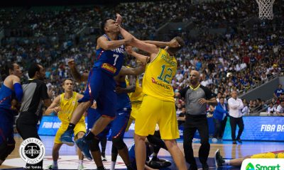 Tiebreaker Times 9 Gilas players, 4 Australians ejected, game resumes with 3 Filipinos 2019 FIBA World Cup Qualifiers Basketball Gilas Pilipinas News  Troy Rosario Thon Maker Terrence Romeo Roger Pogoy Nathan Sobey Matthew Wright Jayson Castro Japeth Aguilar Gilas Elite Daniel Kickert Chris Goulding Carl Cruz Calvin Abueva Australia (Basketball) Andray Blatche 2019 FIBA World Cup Qualifiers Group B 2019 FIBA World Cup Qualifiers
