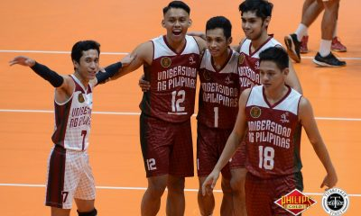 Tiebreaker Times Fighting Maroons thump Chiefs for second win AU News PVL UP Volleyball  UP Men's Volleyball Sherwin Meneses Roi Domingo Miguel Nasol Mac Millete Jerry San Pedro Jerahmeel Baldelovar Hans Chuacuco Christian dela Paz Arellano Men's Volleyball 2018 PVL Season 2018 PVL Men's Collegiate Conference