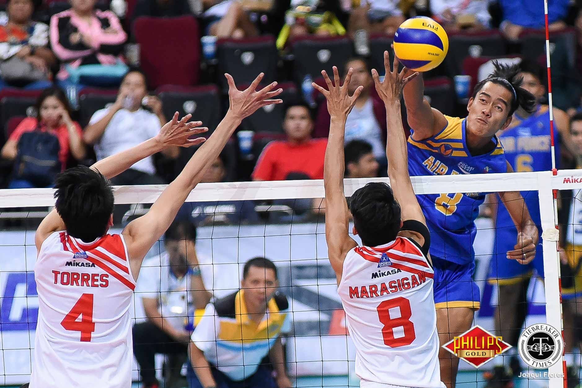 Tiebreaker Times Air Force musters late barrage to down Cignal HD in Game One News PVL Volleyball  Ysay Marasigan Ricky Marcos Rhovyl Verayo RanRan Abdilla Pitrus De Ocampo Oliver Almadro Marck Espejo Cignal HD Spikers Bryan Bagunas Air Force Jet Spikers 2018 PVL Season 2018 PVL Men's Reinforced Conference