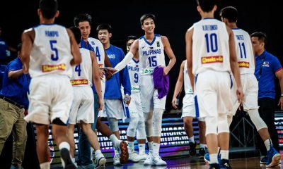 Tiebreaker Times Sotto, Edu surrounded by floor spacers in U19 World Cup Basketball Gilas Pilipinas News  Xyrus Torres Terrence Fortea Sandy Arespacochaga Ryan Betia Rhayyan Amsali Miguel Oczon Kai Sotto JB Sison James Spencer Gilas Pilipinas Youth Gerry Abadiano Geo Chiu Dave Ildefonso Dalph Panopio Charles Tiu Carl Tamayo AJ Edu 2019 FIBA Under-16 Asian Championship