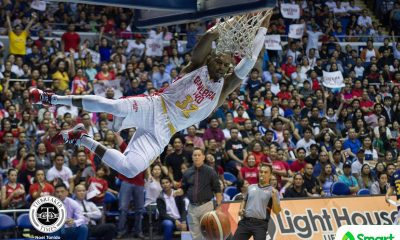 Tiebreaker Times Justin Brownlee drops 37 as Ginebra vents ire on San Miguel to tie series Basketball News PBA  Tim Cone Scottie Thompson San Miguel Beermen Renaldo Balkman PBA Season 43 LA Tenorio Justin Brownlee June Mar Fajardo Joe Devance Greg Slaughter Christian Standhardinger Barangay Ginebra San Miguel Arwind Santos Alex Cabagnot 2018 PBA Commissioners Cup