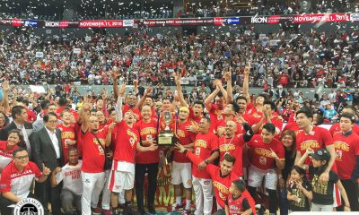Tiebreaker Times Ginebra dethrones San Miguel, ends 21-year Commissioner's Cup title drought Basketball News PBA  Tim Cone Scottie Thompson San Miguel Beermen PBA Season 43 Leo Austria Justin Brownlee June Mar Fajardo Greg Slaughter Barangay Ginebra San Miguel 2018 PBA Commissioners Cup