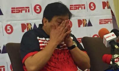 Tiebreaker Times Bong Ramos cries tears of joy after Blackwater's win over TNT Basketball News PBA  PBA Season 43 Bong Ramos Blackwater Elite 2018 PBA Governors Cup