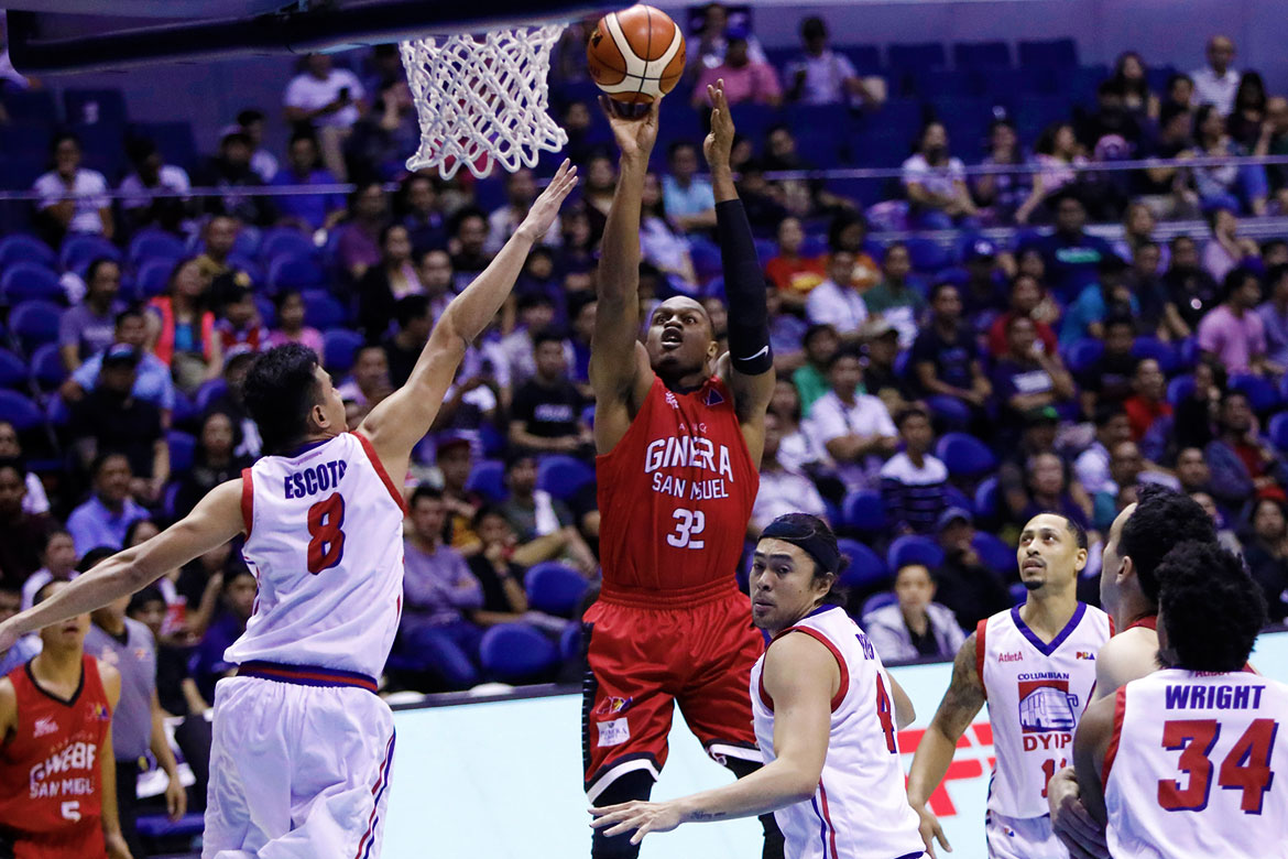 Tiebreaker Times Ginebra debuts on a high note, sends Columbian to 0-4 Basketball News PBA  Tim Cone Scottie Thompson Rashawn McCarthy PBA Season 43 Justin Brownlee Johnedel Cardel Jerramy King Japeth Aguilar Greg Slaughter Eric Camson Columbian Dyip Barangay Ginebra San Miguel Akeem Wright 2018 PBA Governors Cup