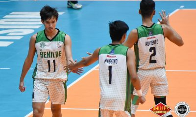 Tiebreaker Times Saint Benilde takes 6th win; San Sebastian keeps semis hopes alive CSB JRU NCAA News SBC SSC-R Volleyball  Vince Abrot Timothy Eusebio San Sebastian Men's Volleyball San Beda Men's Volleyball Saint Benilde Men's Volleyball Ryan Dela Paz Ronney Adviento Robbie Pamitan Nes Pamilar NCAA Season 94 Men's Volleyball NCAA Season 94 Matthew Miguel June Laxina JRU Men's Volleyball Jerome Andrade Jeffrey Losa Francis Basilan Elino Lazaro Clint Malazo Arnold Laniog Angelo Torres