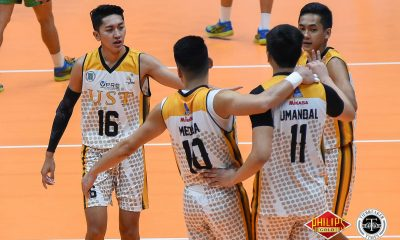 Tiebreaker Times UST evades Arellano upset axe, remains unblemished AU News PVL UST Volleyball  UST Men's Volleyball Ty Carodan Timothy Tajanlangit Sherwin Meneses Odjie Mamon Kim Sawal Keivn Liberato Joshua Umandal Christian dela Paz Arellano Men's Volleyball 2018 PVL Season 2018 PVL Men's Collegiate Conference