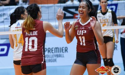Tiebreaker Times UP recovers from first loss, sweeps San Sebastian News PVL UP UST Volleyball  UST Women's Volleyball UP Women's Volleyball Rogee Gorayeb Marian Buitre Lorie Bernardo Joyce Sta. Rita Jamille Carreon Isa Molde Godfrey Okumu Ayel Estranero 2018 PVL Women's Collegiate Conference 2018 PVL Season