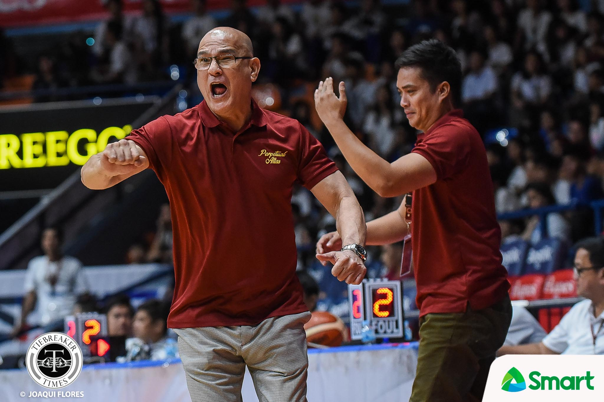 Tiebreaker Times Frankie Lim makes Jielo Razon, Tonton Peralta run suicides after Perpetual's win Basketball NCAA News UPHSD  Tonton Peralta Perpetual Seniors Basketball NCAA Season 94 Seniors Basketball NCAA Season 94 Jielo Razon Frankie Lim