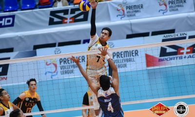 Tiebreaker Times Tiger Spikers outlast Soaring Falcons to draw first blood AdU News PVL UST Volleyball  UST Men's Volleyball Timothy Tajanlangit Pao Pablico Odjie Mamon MAnuel Medina Kim Sawal Joshua Umandal Jayvee Sumagaysay George Labang Domeng custodio Adamson Men's Volleyball 2018 PVL Season 2018 PVL Men's Collegiate Conference