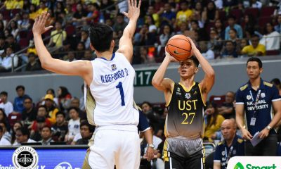 Tiebreaker Times Opening game loss a tough pill to swallow for CJ Cansino Basketball News UAAP UST  UST Men's Basketball UAAP Season 84 Men's bASKETBALL UAAP Season 84 CJ Cansino Aldin Ayo