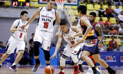 Tiebreaker Times Blackwater gains share of lead, sends Rain or Shine down to 0-4 hole Basketball News PBA  Terrence Watson Rain or Shine Elasto Painters PBA Season 43 Mike DiGregorio Maverick Ahanmisi Leo Isaac John Pinto Henry Walker Ed Daquioag Blackwater Elite Allein Maliksi 2018 PBA Governors Cup