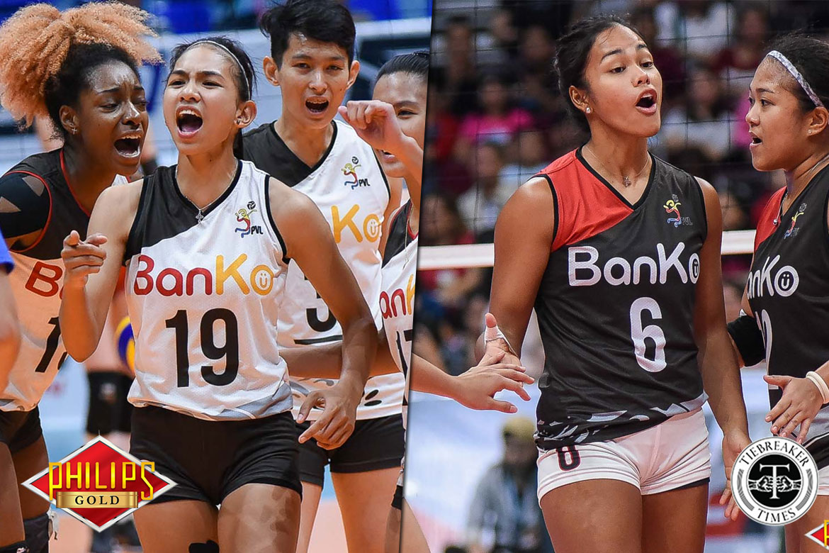 Tiebreaker Times From high-scoring import duo, BanKo leans on rejuvenated pair of locals News PVL Volleyball  Perlas Lady Spikers Nicole Tiamzon Dzi Gervacio Dong dela Cruz 2018 PVL Season 2018 PVL Open Conference