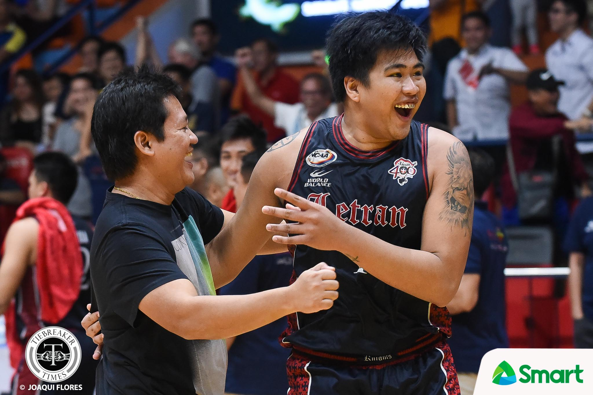 Tiebreaker Times Jerrick Balanza lifts spirits of Bong Quinto, Letran Basketball CSJL NCAA News  NCAA Season 94 Seniors Basketball NCAA Season 94 Letran Seniors Basketball Larry Muyang Bong Quinto