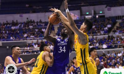 Tiebreaker Times Angelo Kouame brings out the best in the Blue Eagles ADMU Basketball News UAAP  UAAP Season 81 Men's Basketball UAAP Season 81 Sandy Arespacochaga Isaac Go Ateneo Men's Basketball Angelo Kouame