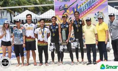 Tiebreaker Times UST's Krung Arbasto-Jaron Requinto snatches UAAP crown, drubs FEU Beach Volleyball FEU News UAAP UST  UST Men's Volleyball UAAP Season 81 Men'ss Beach vOLLEYBALL UAAP Season 81 Richard Solis Kevin Hadlocon Jude Garcia Jaron Requinton FEU Men's Volleyball Anthony Arbasto