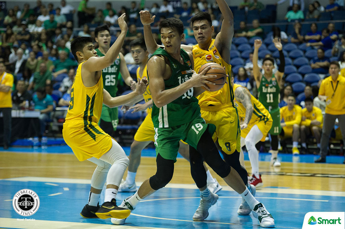 Tiebreaker Times La Salle grinds out FEU to keep solo third Basketball DLSU FEU News UAAP  UAAP Season 81 Men's Basketball UAAP Season 81 Santi Santillan Olsen Racela Louie Gonzalez Justine Baltazar FEU Men's Basketball DLSU Men's Basketball Brandon Bates Arvin Tolentino