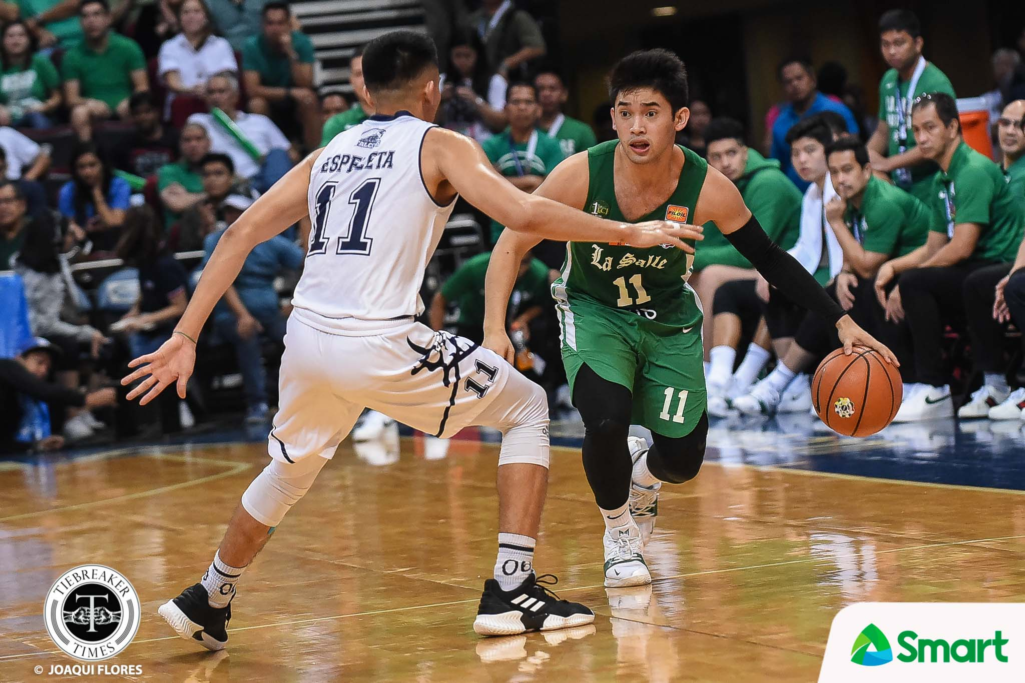 Tiebreaker Times La Salle continues mastery over Adamson, ends round at solo 4th AdU Basketball DLSU News UAAP  UAAP Season 81 Men's Basketball UAAP Season 81 Sean Manganti Louie Gonzalez Jerrick Ahanmisi Franz Pumaren DLSU Men's Basketball Aljun Melecio Adamson Men's Basketball