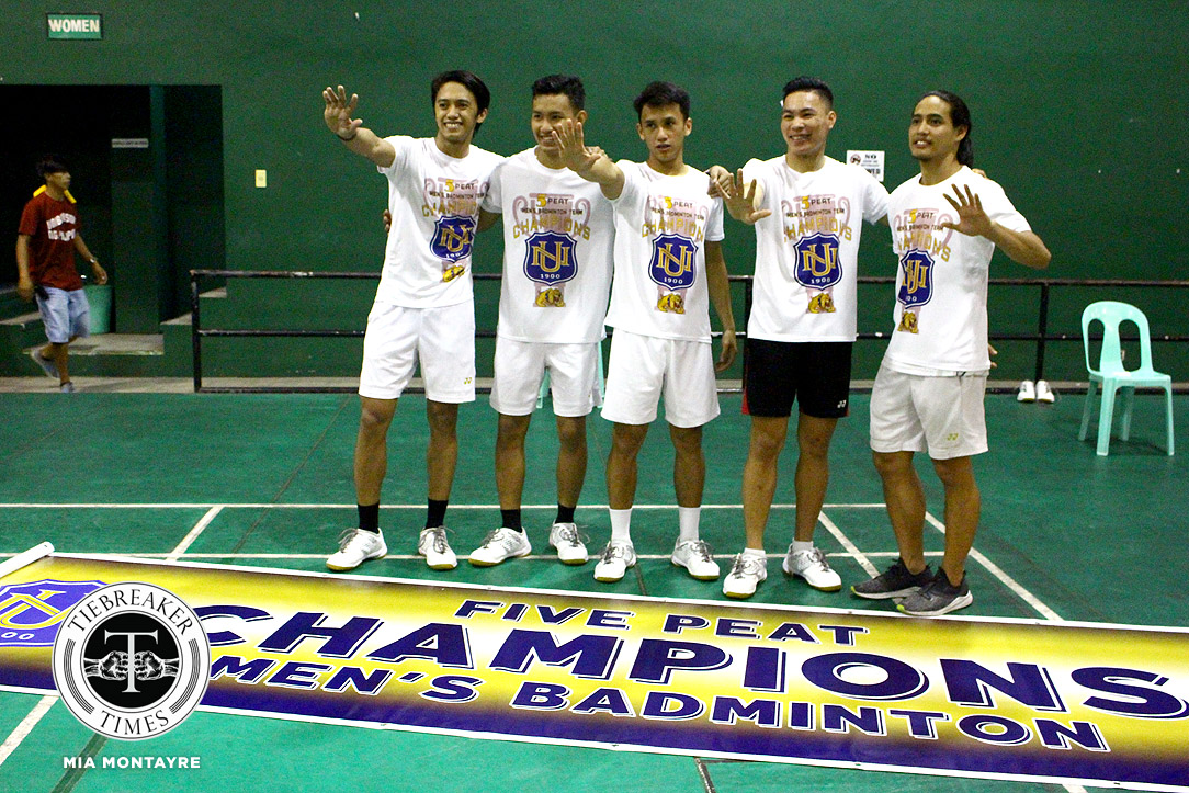 Tiebreaker Times Five senior Bulldogs leave NU with 5th straight crown Badminton News NU UAAP UP  UP Men's Badminton UAAP Season 81 Men's Badminton UAAP Season 81 Ros Pedrosa NU Men's Badminton Mike Minuluan Dawn Cuyno Alvin Morada Alem Palmares