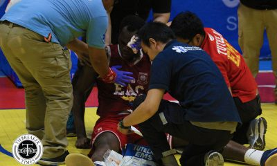 Tiebreaker Times Hamadou Laminou stretchered out after freak accident Basketball EAC NCAA News UPHSD  Perpetual Seniors Basketball NCAA Season 94 Seniors Basketball NCAA Season 94 JEROME pASIA Hamadou Laminou EAC Seniors Basketball