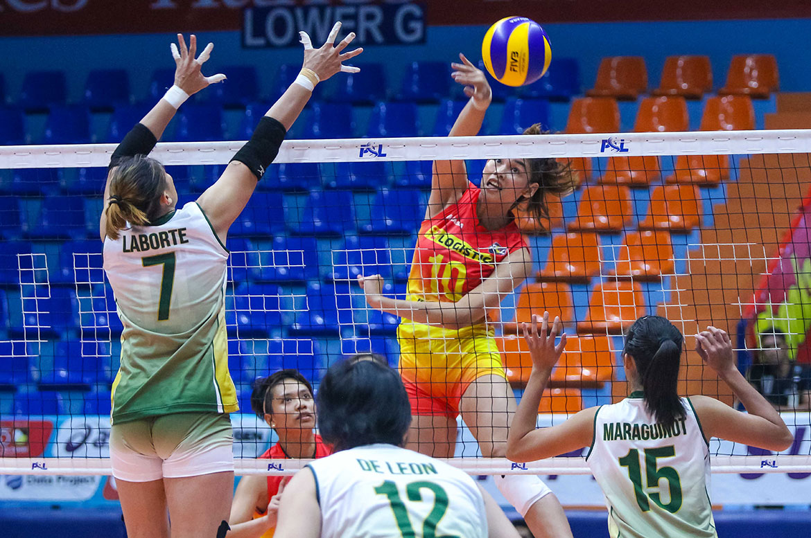 Tiebreaker Times F2 Logistics stifles Sta. Lucia for second win News PSL Volleyball  Sta. Lucia Lady Realtors Ramil De Jesus Majoy Baron Kim Fajardo Kim Dy Jho Maraguinot George Pascua F2 Logistics Cargo Movers Dawn Macandili 2018 PSL Season 2018 PSL All Filipino Conference