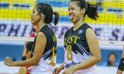 Tiebreaker Times UST clinches Finals berth after dispelling UE News PSL UE UST Volleyball  UST Women's Volleyball UE Women's Volleyball Tin Francisco Rod Roque Mary Anne Mendrez MaFe Galanza Kungfu Reyes Judith Abil Janel Delerio Eya Laure 2018 PSL Season 2018 PSL Collegiate Grand Slam