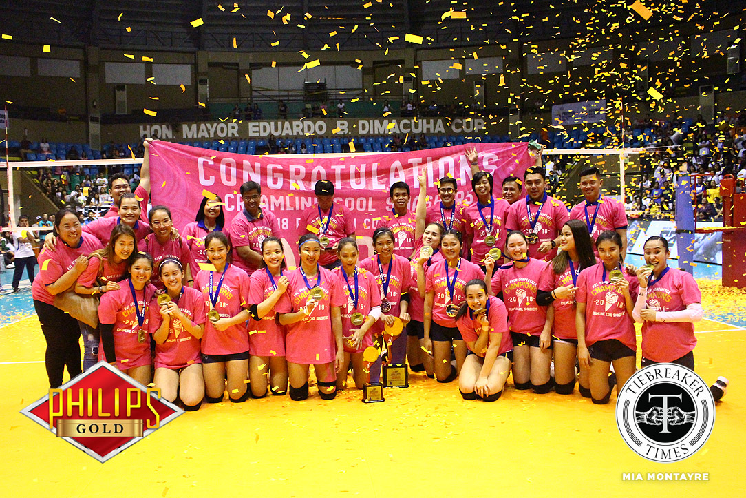 Tiebreaker Times Golden Double: Creamline brings home 2nd PVL title after romping Ateneo-Motolite ADMU News PVL Volleyball  Tai Bundit Risa Sato Oliver Almadro Melissa Gohing Maddie Madayag Jia Morado Creamline Cool Smashers Bea De Leon Ateneo-Motolite Lady Eagles Alyssa Valdez 2018 PVL Season 2018 PVL Open Conference